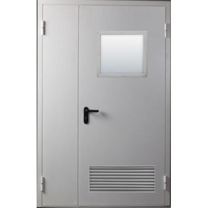 Противопожарная дверь двухстворчатая с вентиляционной решеткой