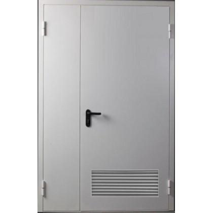 Двухстворчатая противопожарная дверь с решеткой